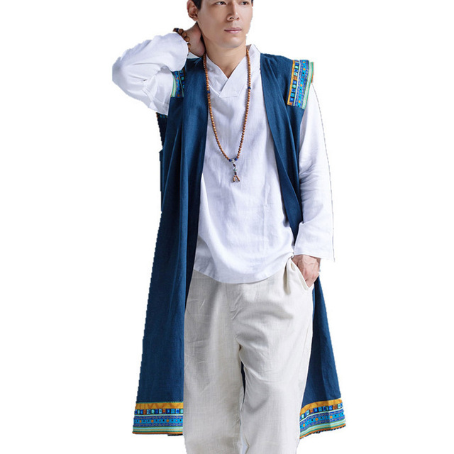 Мужчины жилет китайский стиль мужская ретро печати длинный жилет куртка большой размер мужчины белье свободные рукавов жилет кардиган пальто
