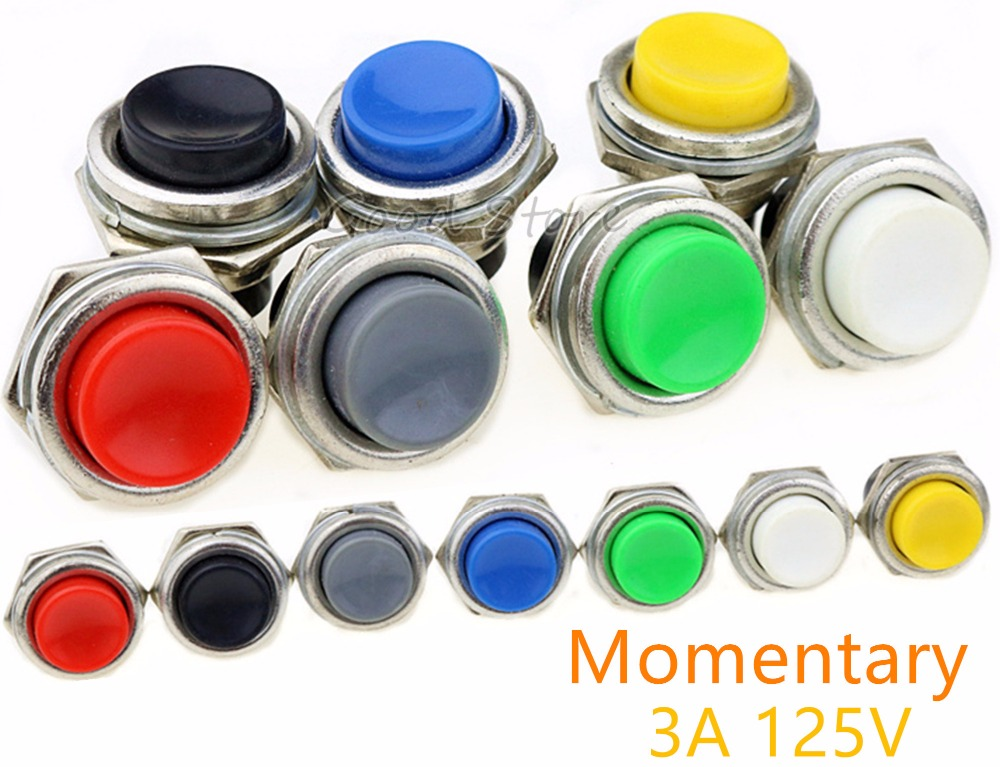 1PCS DS-212 Momentary SPST NO Red/Gray/Green/White/Black/Blue/Yellow Round Cap Push Button Switch AC 125V 3A  DS212