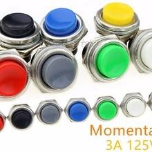 1 шт. DS-212 Мгновенный SPST NO Цветовая гамма: красный/серый/зеленый/белый/черный/синий/желтый круглый Кепки кнопочный переключатель переменного тока 125V 3A DS212