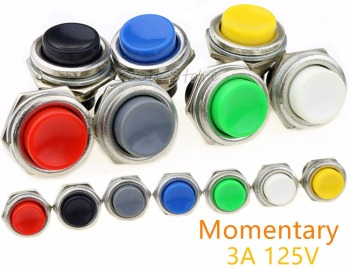 1PCS DS-212 Momentary SPST NO Red/Gray/Green/White/Black/Blue/Yellow Round Cap Push Button Switch AC 125V 3A  DS212 4pcs set black red green yellow 12mm mini round waterproof lockless momentary push button switch