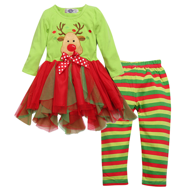 Deer Christmas Party Girls Clothing Sets Red Tops+Striped Pant Everyday Wear Children Pajamas Outfit Clothes