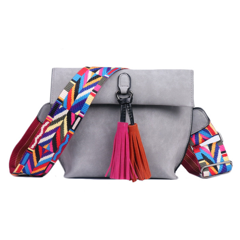 2018 Spring New Female Bag Fashion Women Messenger Bags Tassel Shoulder Bag Handbags with Colorful Strap PU Crossbody Pouch leftside fashionable 2017 women tassel designer rivet boston bag female handbag woman hand bags shoulder bag with wide strap