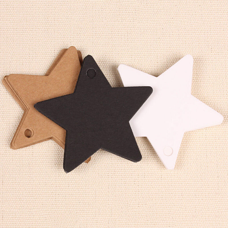 100Pcs Christmas Halloween School Favor Gift Card Luggage Tags Packaging Labels Black Star Kraft Paper Label Tags