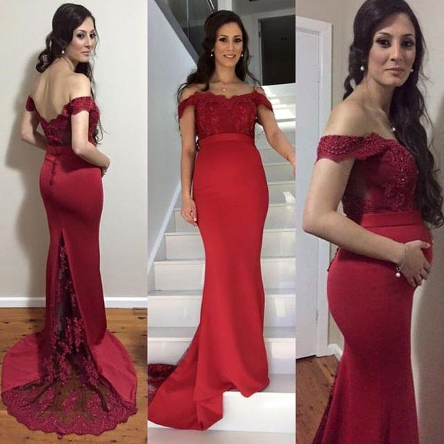 Long Mermaid Burgundy Prom Dress Design For Pregnant Women Cap ...