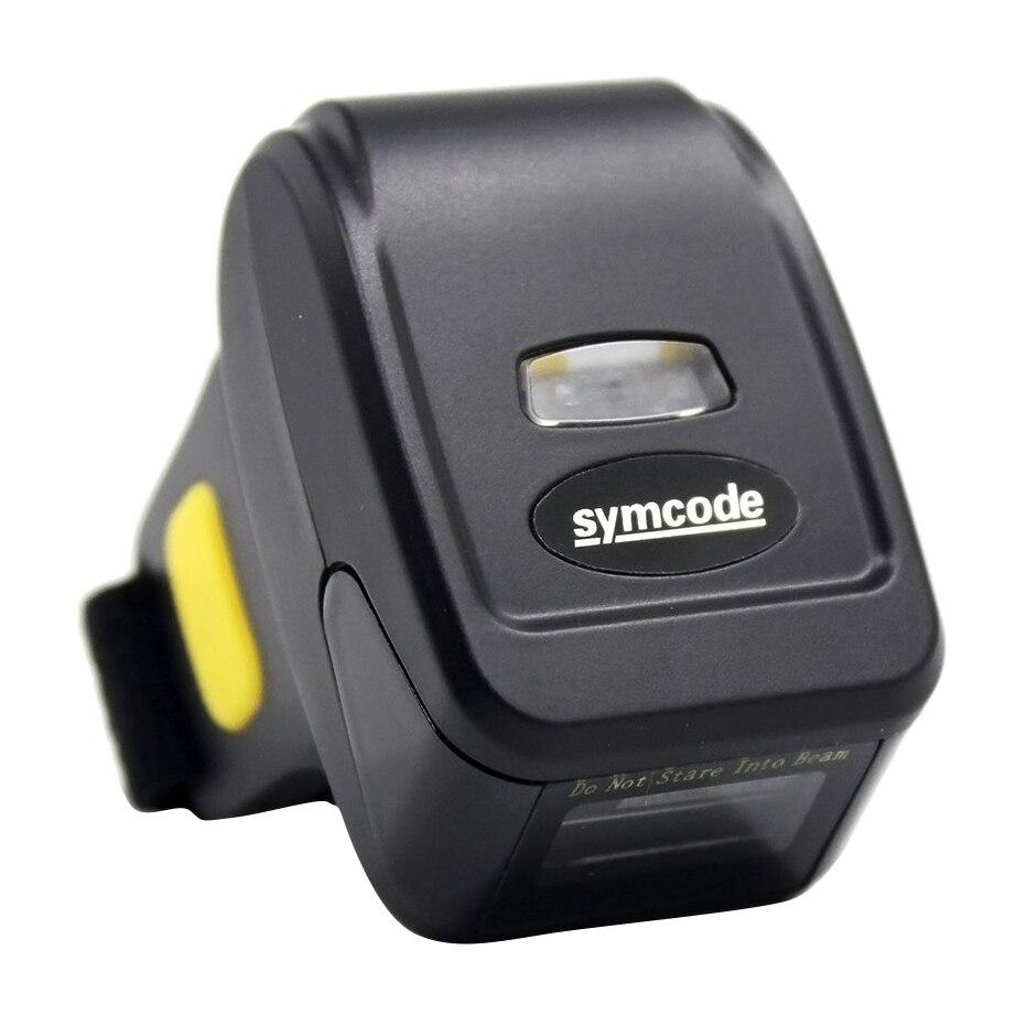 Symcode 2D Bluetooth Barcode Scanner Mini Sans Fil Doigt Code À Barres Lecteur Noir