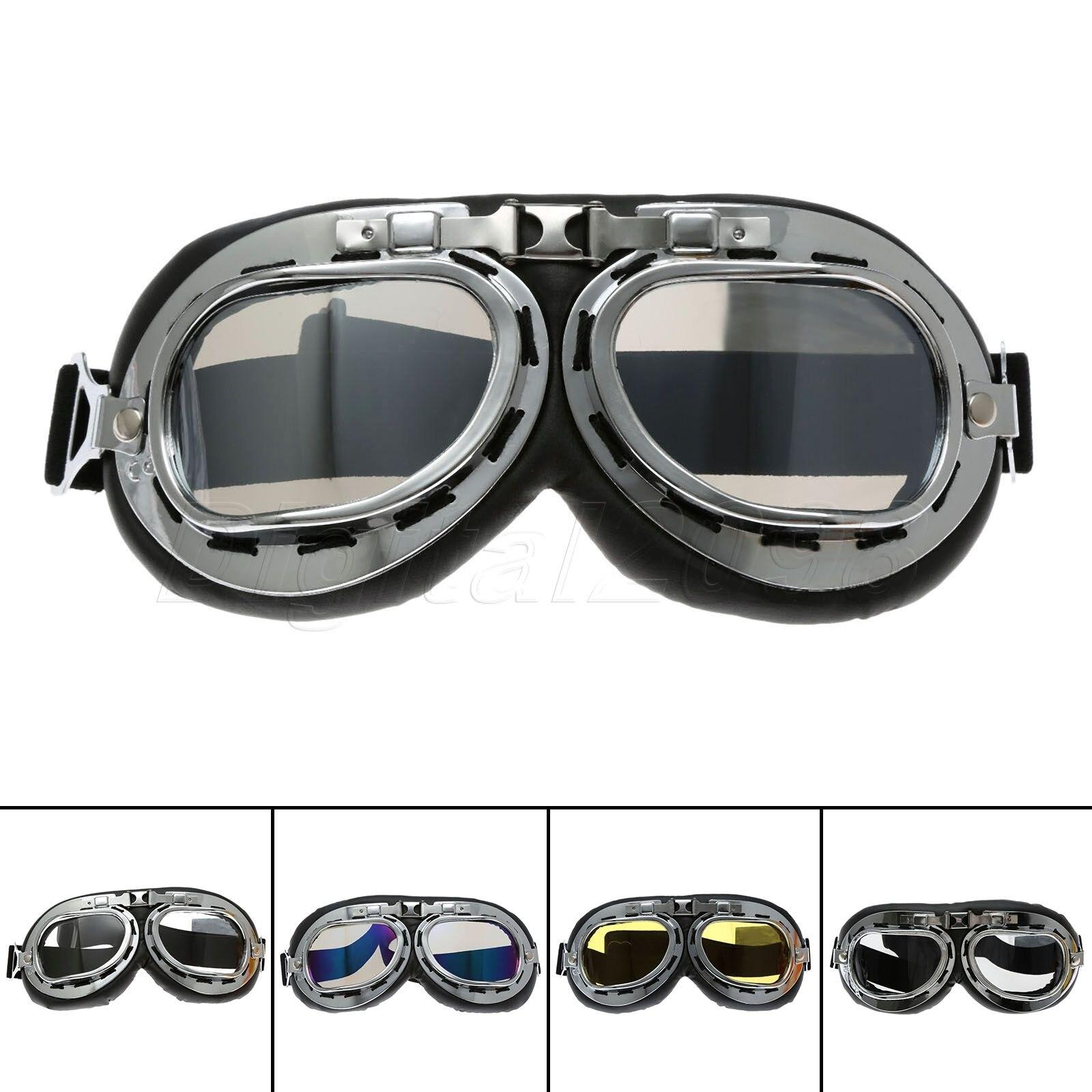 Yetaha Vintage Pilot Motorcycle Goggles Motocross ATV Dirt Biker Cruiser WWII RAF Glasses Smoked Lens