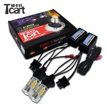 Tcart 2 шт. авто светодиодный лампы автомобиля светодиодный обновлен DRL дневного света поворотники Лампа T25 3157 для Nissan X -trail T31 лист 2014