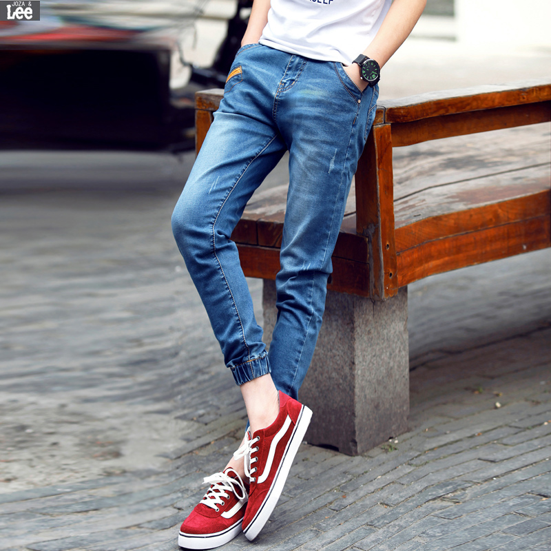 2016 Time limited Zipper Fly Mid Full Length New Men Clothing Denim Jeans Cashual Joker Pants