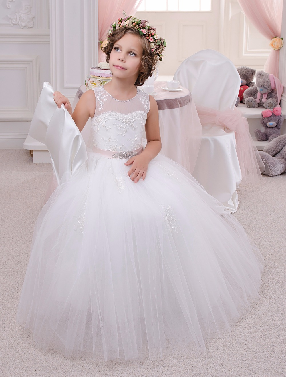 Beading Lace Appliques Sleeveless Ruffles Holy Communion Infant Girls Dresses Kids Prom Beading Tulle Ball Gowns 0-12 Year комлев и ковыль