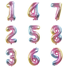 32inch Rainbow Number Balloons Iridescent Foil Balloon for Birthday Wedding Party Decoration Digital Ballon Air Globos