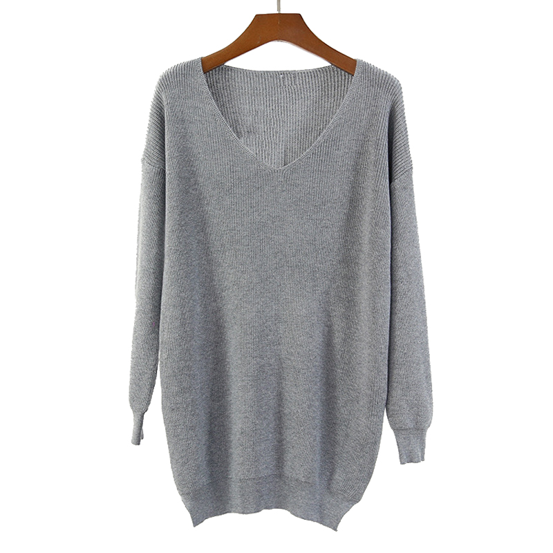 2019 Spring Autumn New Deep V Neck Long Knitted Pullover Women Loose Casual Sweater Long Sleeve Thin Solid Sexy Female Jumper-in Pullovers from Women's Clothing on AliExpress - 11.11_Double 11_Singles' Day 1