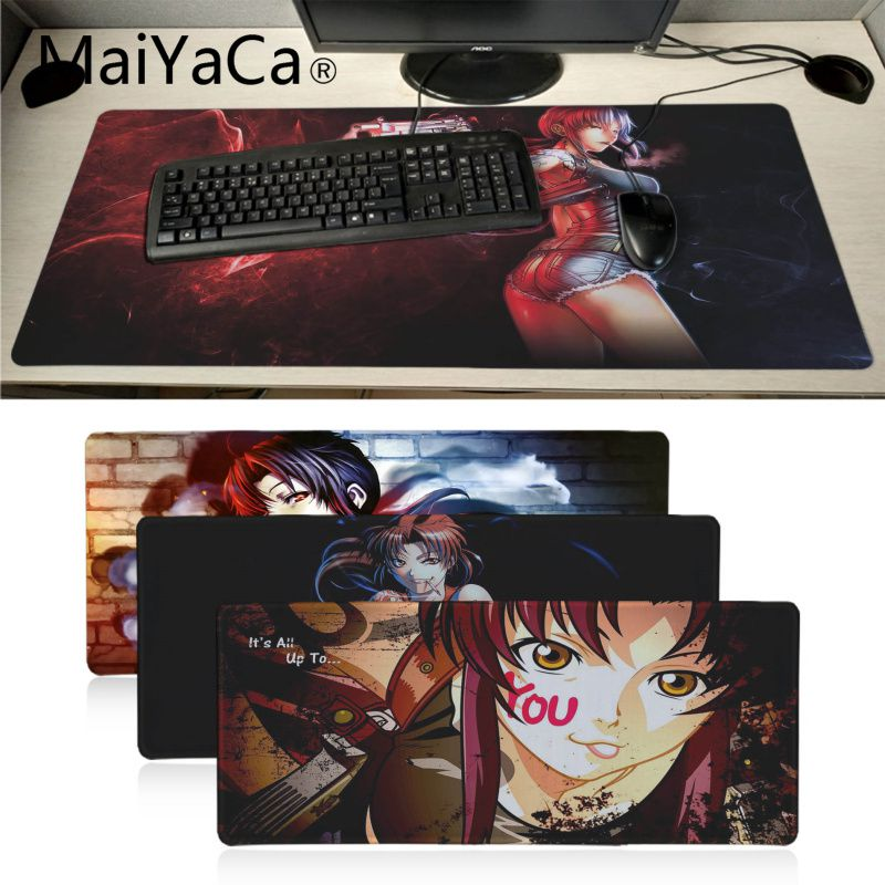 MaiYaCa Boyfriend Gift Black Lagoon Mouse Pad Gamer Play Mats Anime Cartoon Print Large Lockedge Game Gaming Mouse Pad Xl