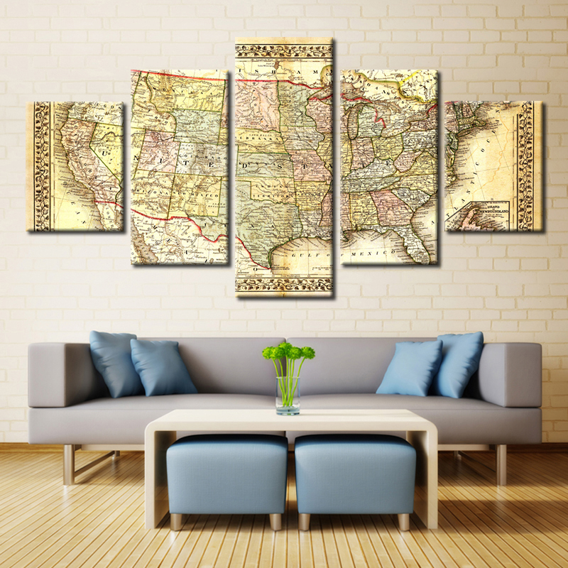 Brown Picture Guidepost Map Nautical Chart Canvas Wall Art Paintings ...