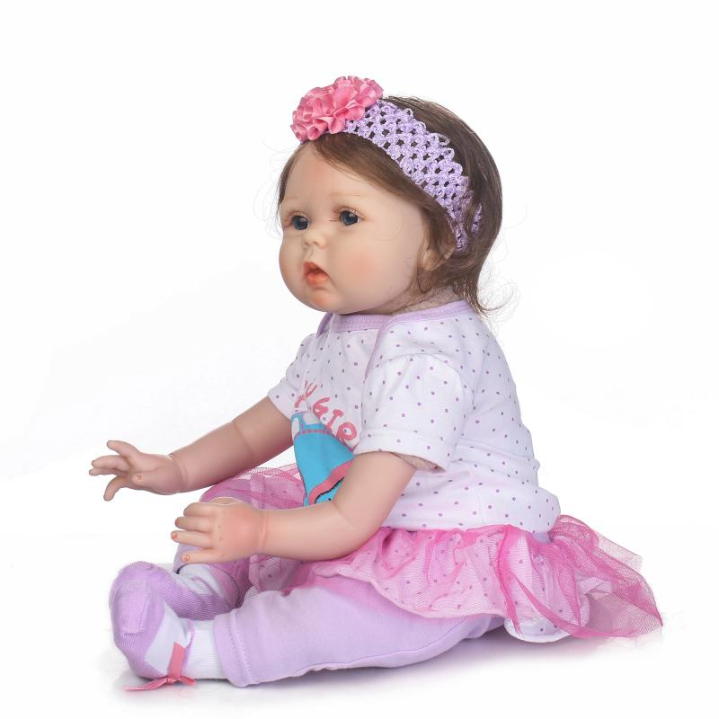 kawaii 22inch silicone reborn dolls toy 55CM lovely complete doll lifelike baby doll children's toys for girls toys for boys little cute flocking doll toys kawaii mini cats decoration toys for girls little exquisite dolls best christmas gifts for girls
