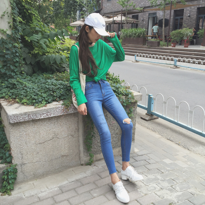 Autumn and winter all match high waist knee hole letter jeans elastic tight pencil skinny pants