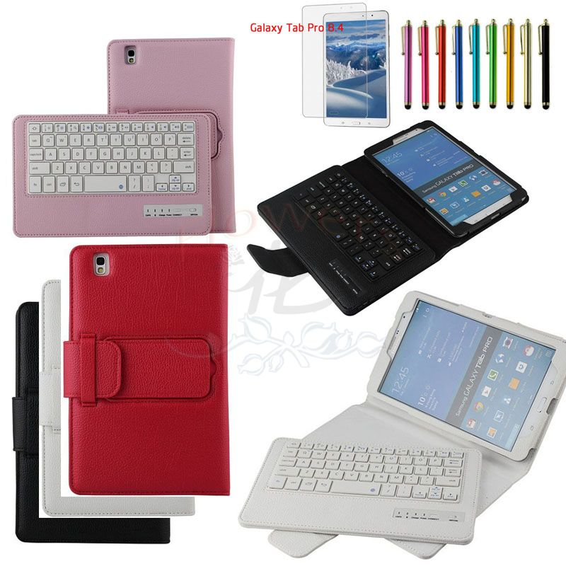 Specialized Removable Bluetooth Keyboard Case Smart Cover For Samsung Galaxy Tab Pro 8.4 T320 & Protective Screen Film &Pen samsung keyboard cover ej cg930ubegru black