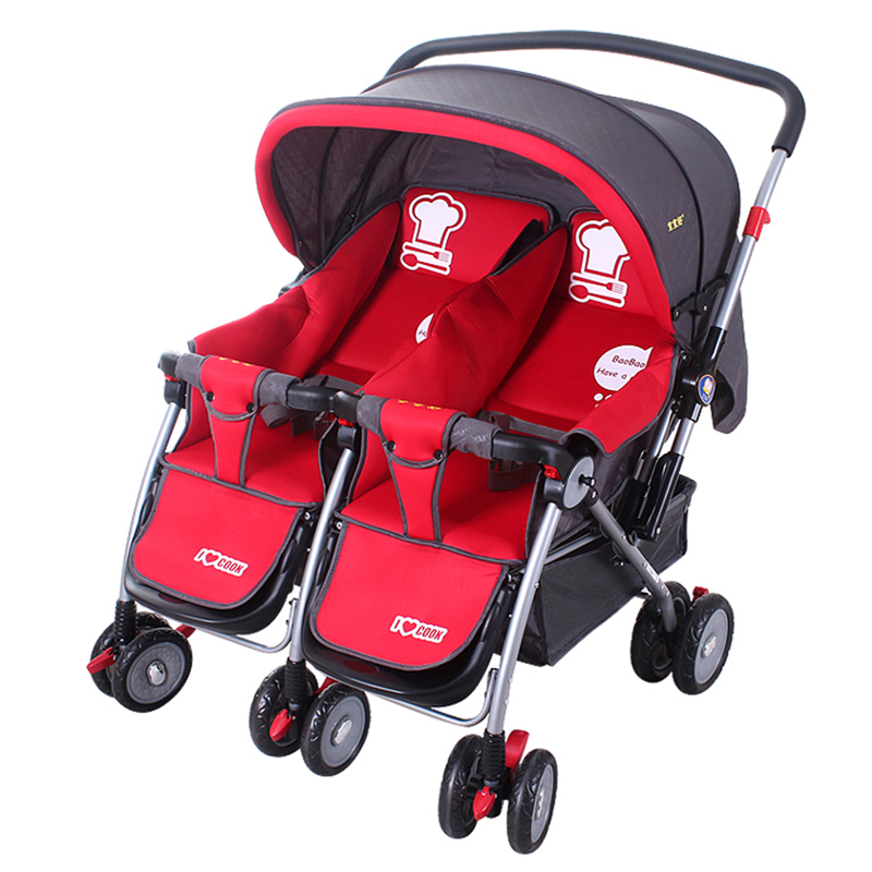 Baby Pushchair Foldable Buggy Stroller Trolley Safety Harness Shoulder Pads Red