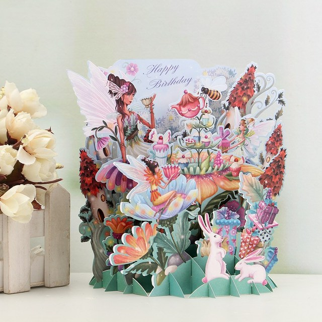 Best price flower fairy diy 3d pop up greeting card laser cut best price flower fairy diy 3d pop up greeting card laser cut origami paper craft happy mightylinksfo