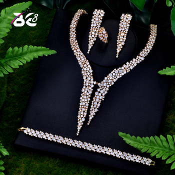 Be 8 Luxury Sparking Brilliant AAA Cubic Zircon Earrings Necklace Heavy Dinner Jewelry Set Wedding Bridal Dress Accessories S122