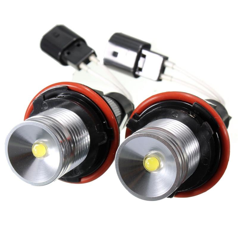1 Pair 10W Angel Eyes Xenon White LED Halo Ring Light Bulbs For BMW E39 E53 E60 E63 E64 E65 Durable Headlights Waterproof
