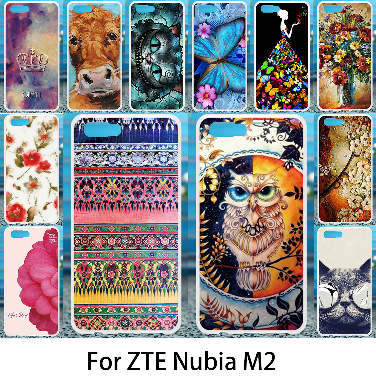 Akabeila Чехлы для zte M2 силиконовый чехол DIY рисунком анти-knock Обложка для zte Нубия M2 Обложки Shell coque