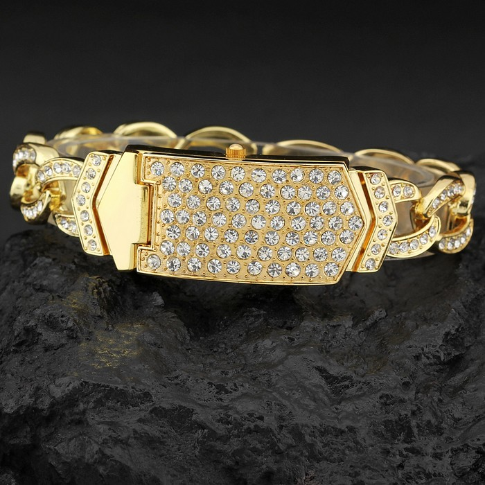 G & D Luksus Brand Kvinners Armbåndsure Guld Rhinestone Smykker - Dameure - Foto 3