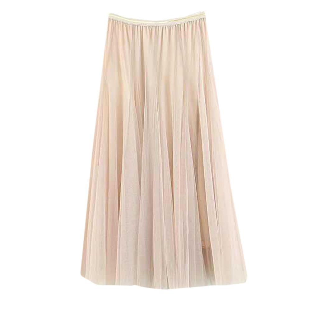 Korean Women Girls Skirt Big Swing Tulle Pleated Long Maxi Tutu Skirt High Waist Net Skirt summer holiday beach skir 2020 AD