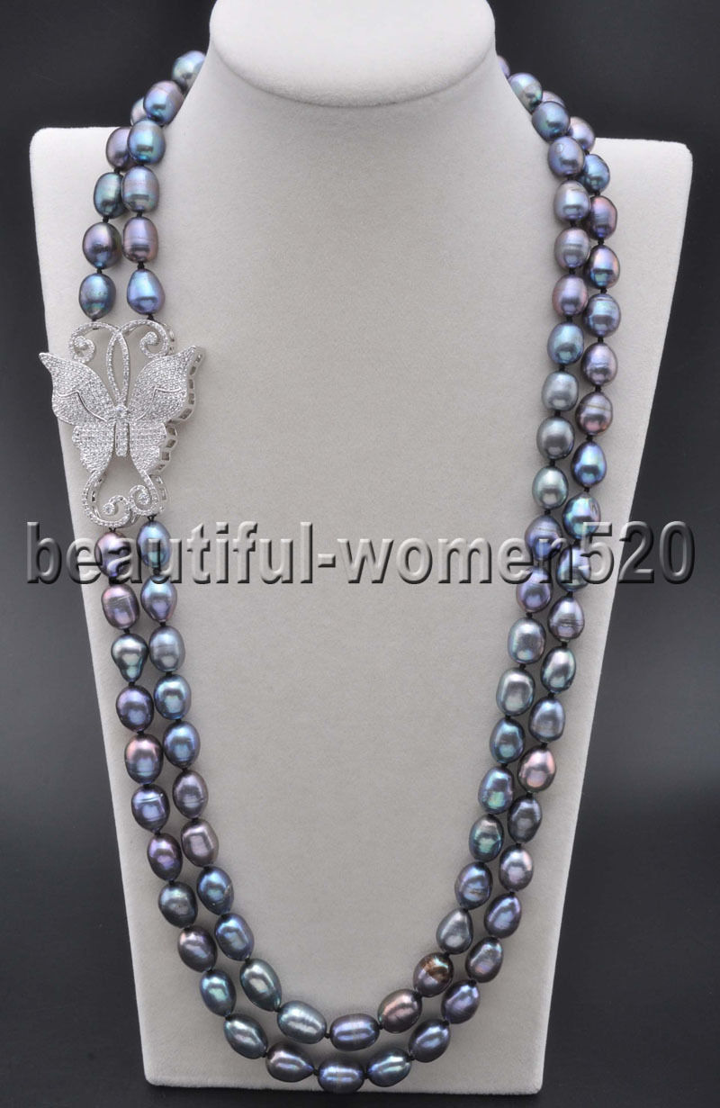 Z8202 2Strands 14mm Peacock-Black Rice Freshwater PEARL CZ Butterfly NECKLACE 24inchZ8202 2Strands 14mm Peacock-Black Rice Freshwater PEARL CZ Butterfly NECKLACE 24inch
