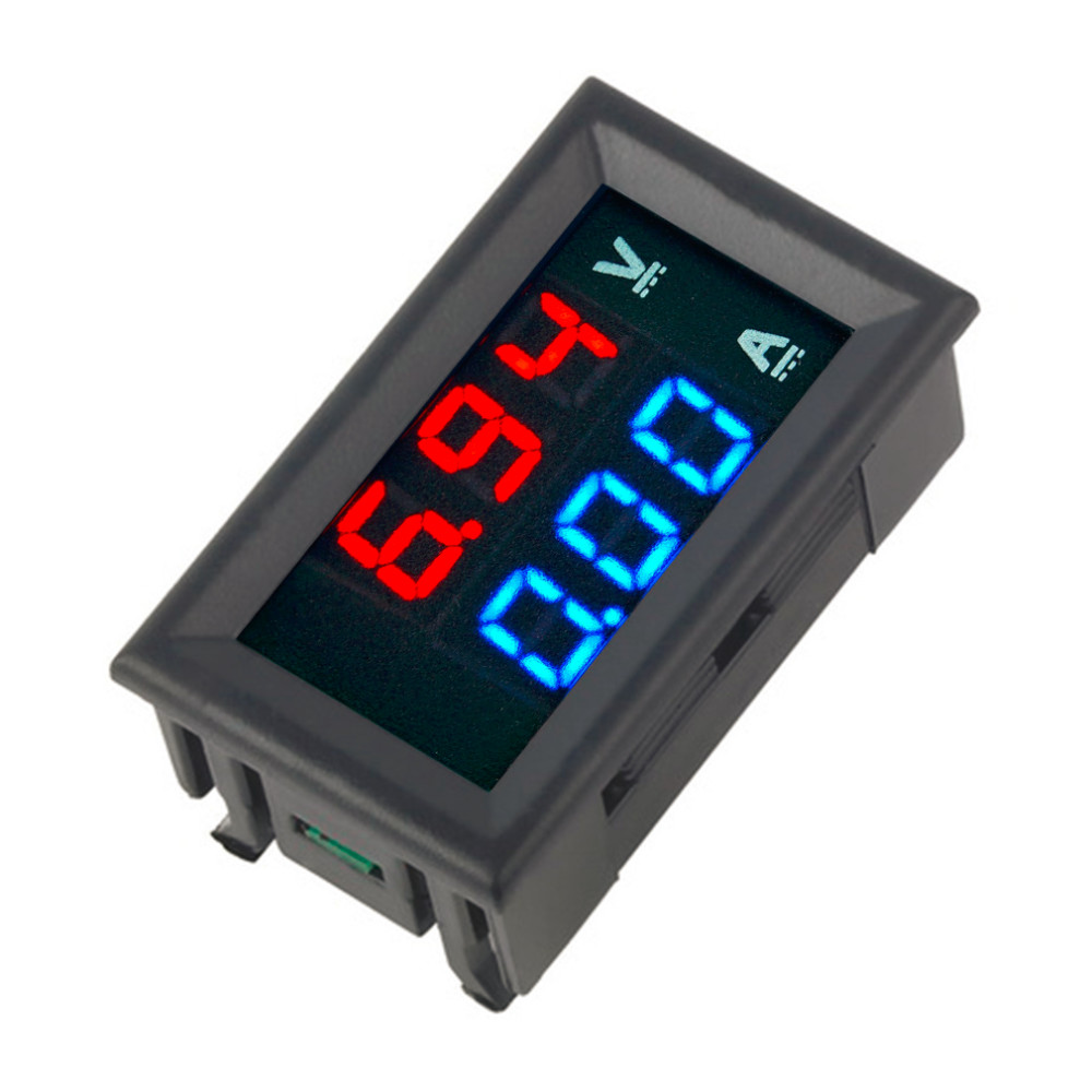 (Red and Blue 10A) <font><b>DC0</b></font>-<font><b>100V</b></font> 10A LED DC Double Display Digital Voltage Amperometer Headband Fine Tuning image