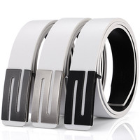 Men S Double Sides Cowskin Genuine Leather Belt Fashion Casual S Letter Smooth Buckle Belt Free