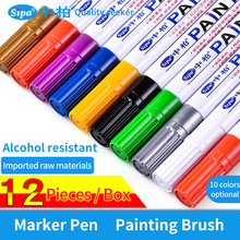 DIY Graffiti Oily Brush Marker Pen 12Pcs Colorful Waterproof Pen Car Tyre Tire Tread CD Metal Permanent Paint Marker Pen SP189 diy tire marker paint pen for auto car motorcycle yellow