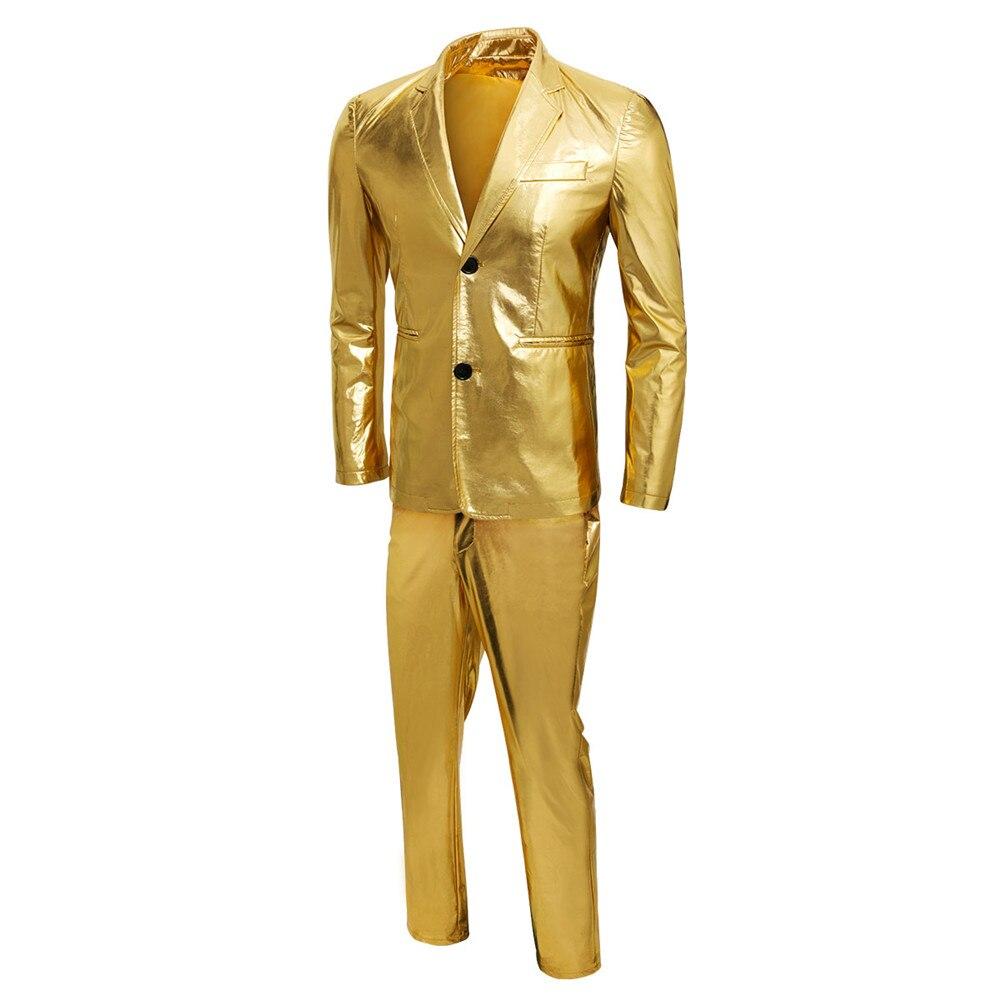 남자 2018 새로운 금속 정장 골드 반짝 이는 드레스 정장 캐주얼 슬림 맞는 파티 웨딩 의상 가수 댄서 정장 재킷 + 바지-에서정장부터 남성 의류 의  그룹 2