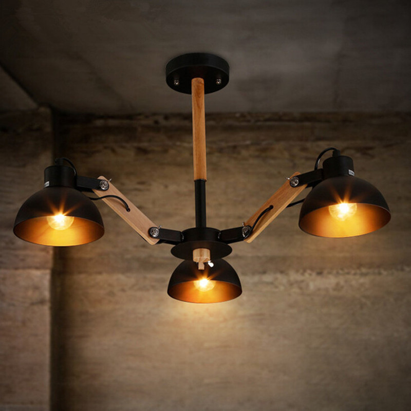3 Heads American Country Restaurant Bedroom Originality Iron Ceiling Light Nordic Wood Bar Cafe Art E27 LED Lamp Free Shipping