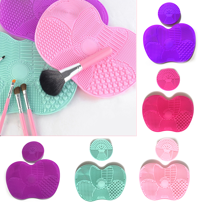 2Pcs Silicone Makeup Brush Cleaner Cosmetics Washing Tool Eyebrow Eyelashes Foundation Mermaid Brush Cleaner Scrubber Board apple shaped makeup brush cleaner 2pcs