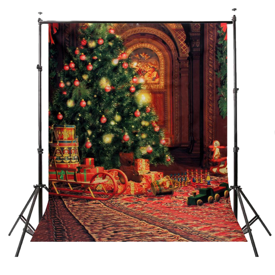 5x7FT Vinyl Photography Backdrop Photo Background, Christmas tree sleigh