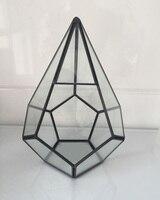 Modern Geometric Clear Glass Terrarium Succulent Brass Diamonds Shape Plant Terrarium Microscape Air Bonsai Flower Pot