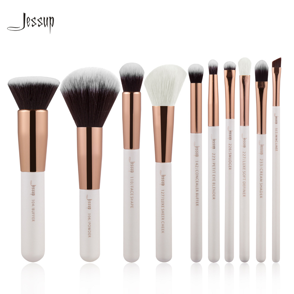 Jessup Brand Pearl White/Rose Gold Professional Makeup Brushes Set Make up Brush Tools kit Foundation Powder Buffer Cheek Shader цены онлайн