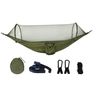 Image 2 - OEM New pattern fully automatic quick open Portable Parachute Nylon Outdoor mosquito net camping hiking hammock