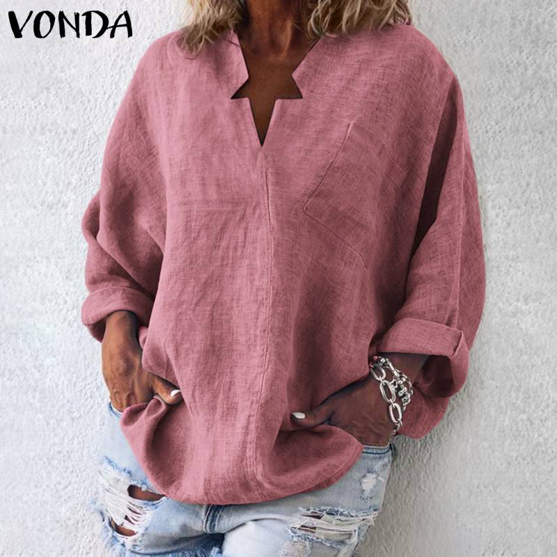 VONDA Women Casual   Blouse     Shirt   Long Sleeve Casual Loose Women   Blouses   Tops Plus Size Basic Blusas Beach Women's Tunic Plus Size