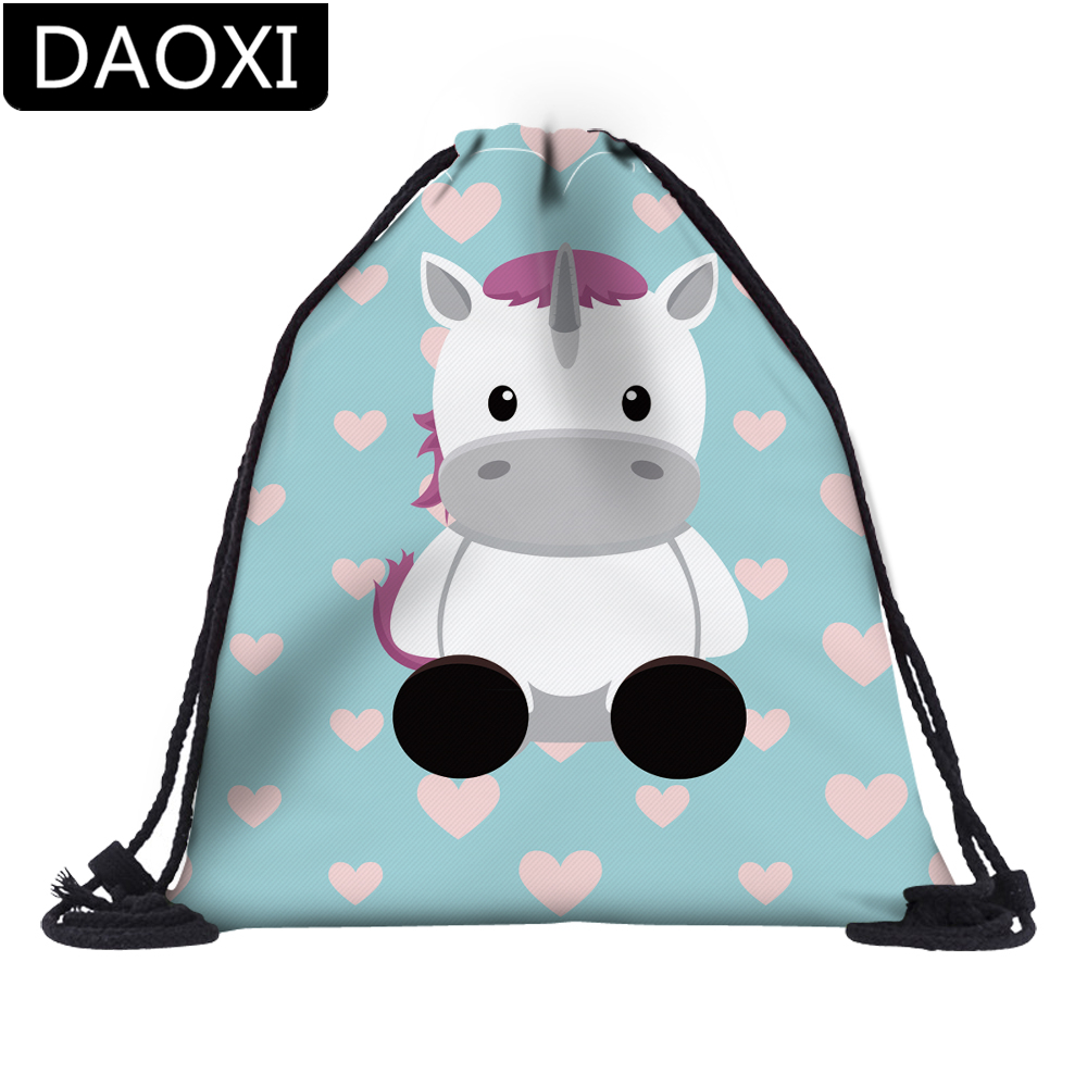 DAOXI 3D Printed Cute Unicorn Colorful Heart Drawstring Bags Necessaries For Travel Casual Backpacks DX60062