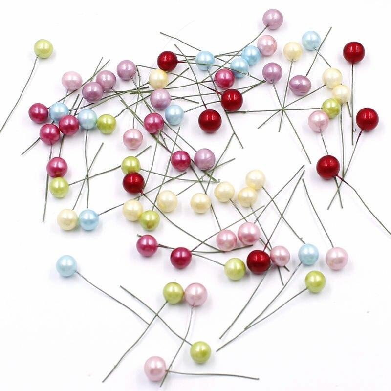 50 шт. супер жемчуг Искусственный пластик тычинки маленький Cherry для свадьбы короны Коробка для рождественских кексов Decoratio
