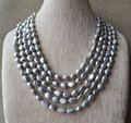 100% Real Pearl Long Necklace,Gray Color 7x10mm 100Inches Baroque Shape Freshwater Pearl Necklace