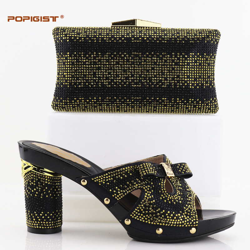 d31094f93223 Factory Price Black Round Pumps 9.5cm Shoes and Small Bag Set African Shoes  and Matching