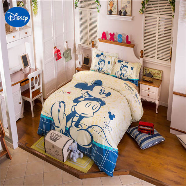 US $76.77 29% OFF|Disney Blue Mickey Mouse Bedding Sets Children Bedroom  Decor 100% Cotton Bed sheet Duvet Cover Set 3/4/5pcs Twin Full queen  Size-in ...