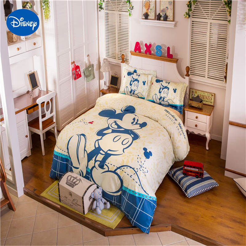 Disney Blue Mickey Mouse Bedding Sets Children Bedroom Decor 100% Cotton Bed sheet Duvet Cover Set 3/4/5pcs Twin Full queen Size