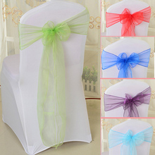 50PCS organza chair sashes bow red white green gold weddings chair bow organza sashes event party wedding chair sash bow ties