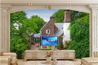 Grandes peintures murales, Maisons Fontaines Manoir Conception Arbres Villes fonds d'écran, salon canapé TV mur peint chambre papel de parede