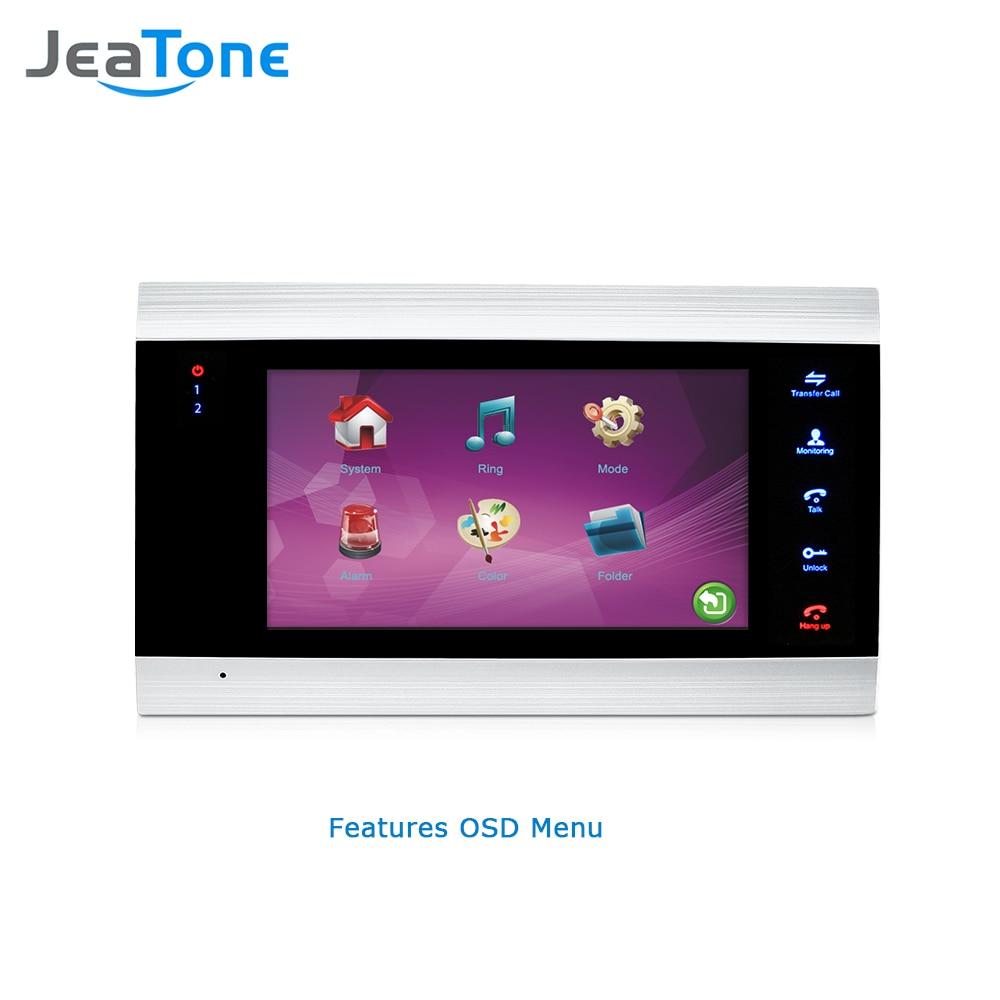 Video Intercom Jeatone 7 Inch Video Door Phone Intercom Touch Key Monitor Remote Unlocking Waterproof Ir Night Vision 1200tvl Mini Camera Jade White