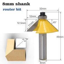 1 adet 8mm Shank kenar pah yönlendirici Bit rulman ile kırpma 45 derece ahşap freze kesicisi ahşap kesme aletleri