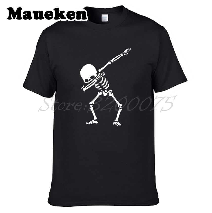 Men T-shirt Dabbing Skeleton Paul Pogba cam newton Dab Hip Hop Skull Dabbin T Shirt Mens ...